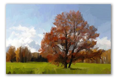 Sfumato árbol, óleo de paisaje
