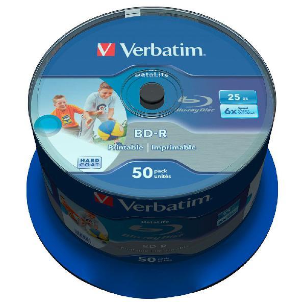Verbatim data life bd-r blu-ray 25gb imprimible 6x velocidad