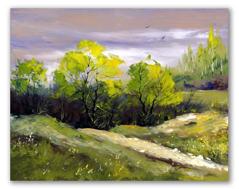 Rboles del monte, óleo de paisaje