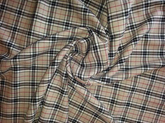 Beige (thompson) - tela de tartán - poliviscosa -