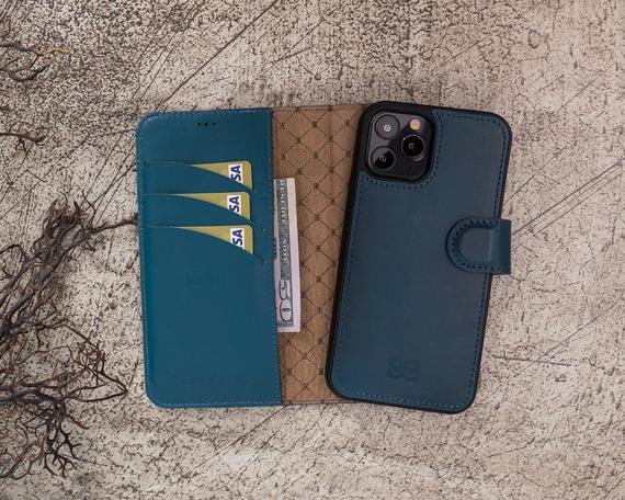 Cuero azul apple iphone 12 pro max (6.7