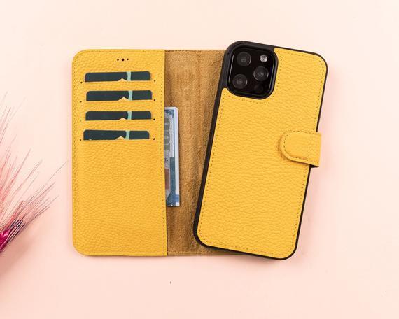 Cuero amarillo iphone serie 11 magnética desmontable