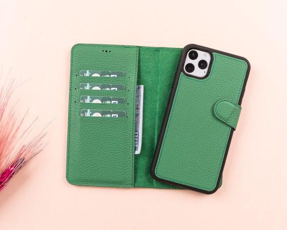 Cuero verde iphone serie 11 magnética desmontable cartera