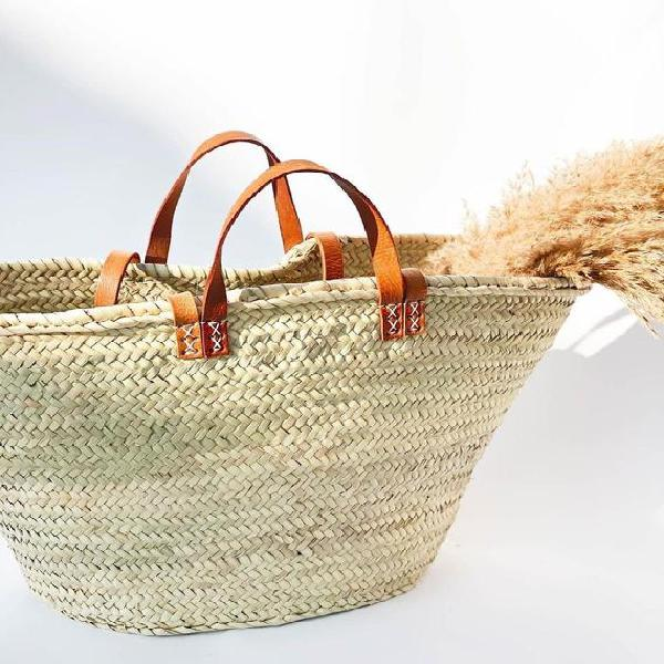 Natural basket xl with double flat leather handles, market