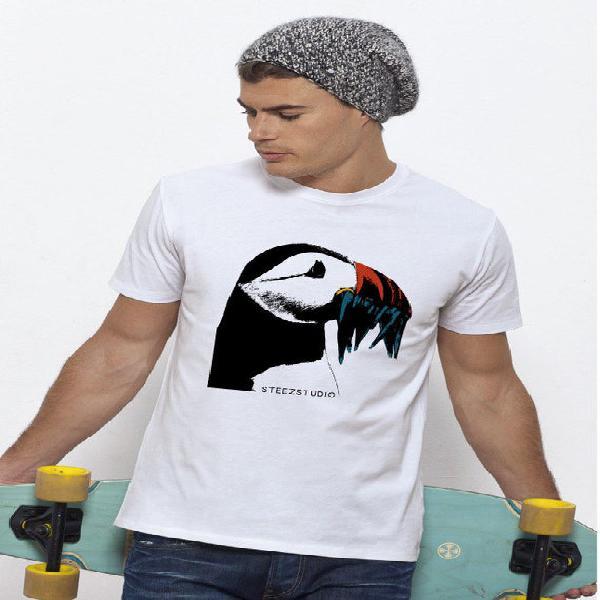 Camiseta hombre 100% algodón bio suave justos frailecillos