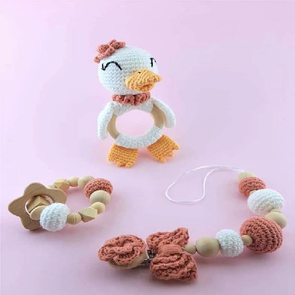 Gift box for newborn baby girl, crochet duck rattle,
