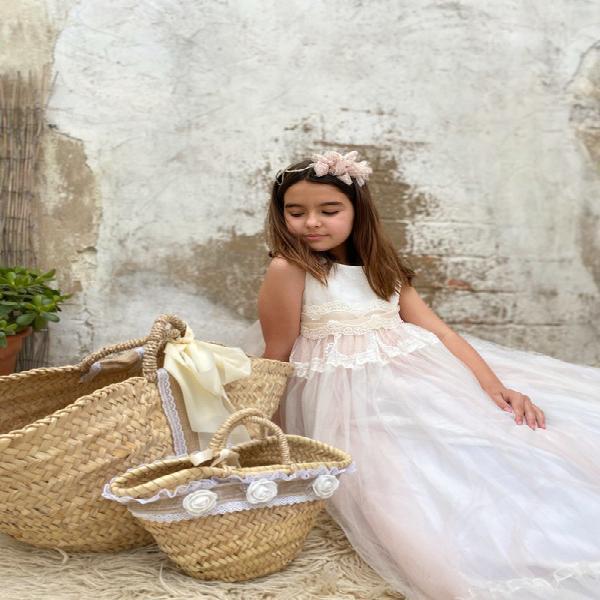 Vestido comunión de niña de largo aurora