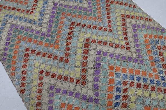 Afghan (5x6.6) kilim rug, afghan hand knotted kilim, kilim
