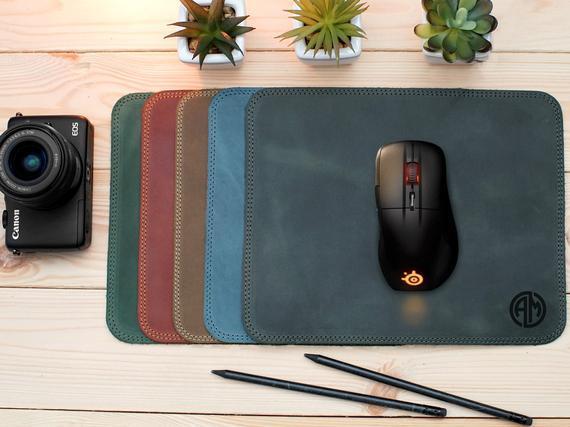 Almohadilla de ratón de cuero, accesorios personalizados