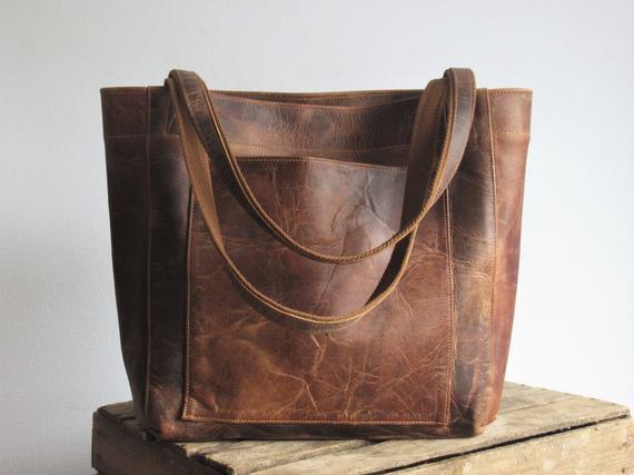 Comprador de cuero marrón, bolso de mano grande, bolso