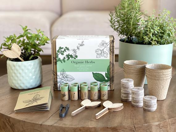 Fleur du bien indoor herb garden starter kit, 10 gardening