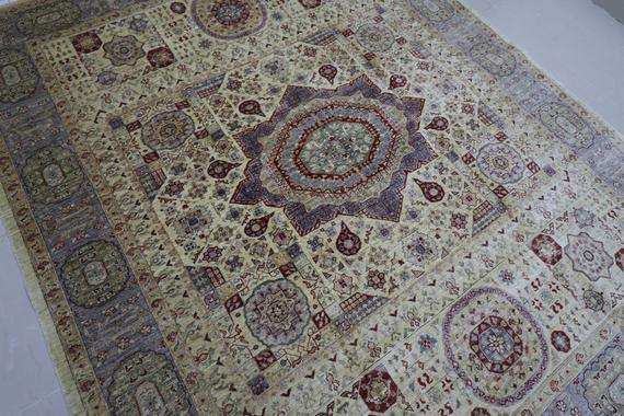 Mamluk beige (8.2x10.2) area rug, afghan hand knotted rug,