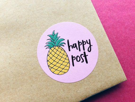 Pegatinas de correo feliz, pegatinas de piña, hoja de