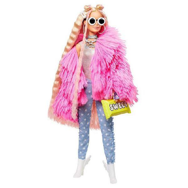 Mattel barbie extra abrigo de peluche rosa y mascota
