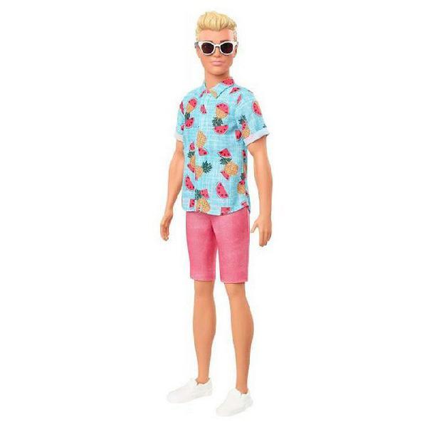Mattel barbie fashionista ken rubio con camisa azul frutas