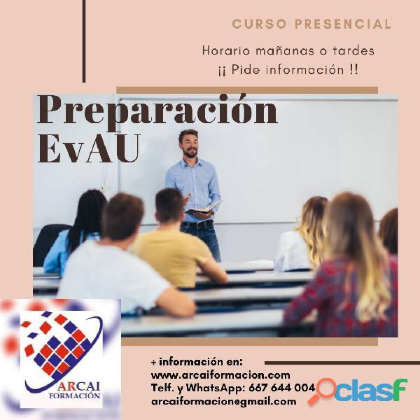 Curso presencial de preparación de la EvAU (Selectividad)