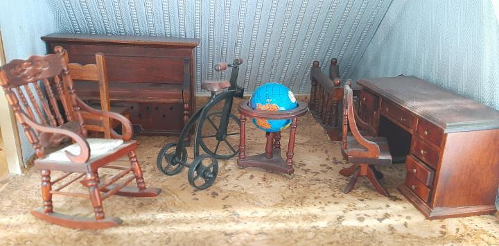 Sala de estar muebles de madera casa de muñecas escala 1:12
