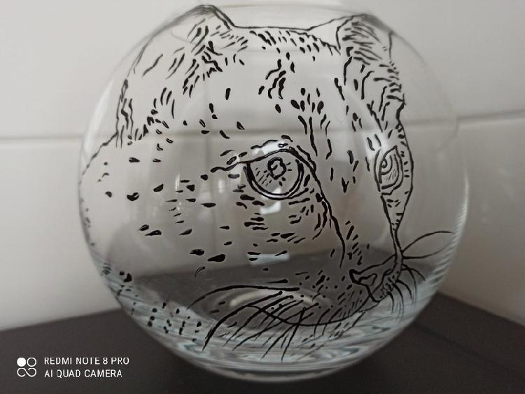 Vase chat, peint à la main