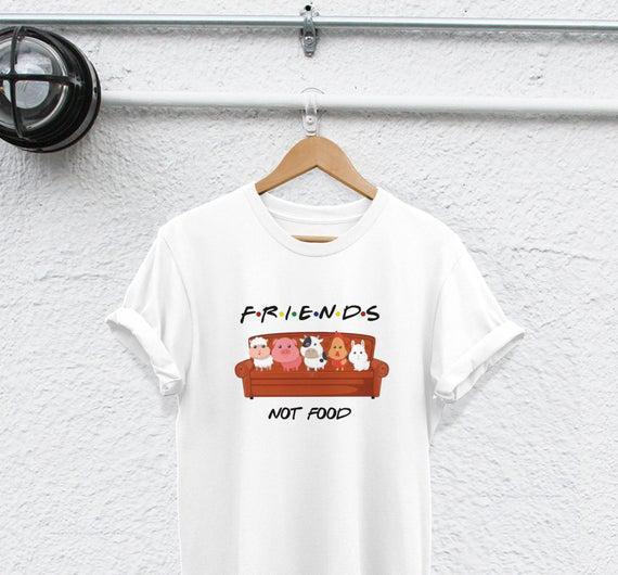 Camiseta vegana amigos no comida comiendo animales es