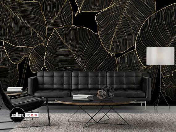 Gold lines leaf wallpaper peel and stick self adhesive mural