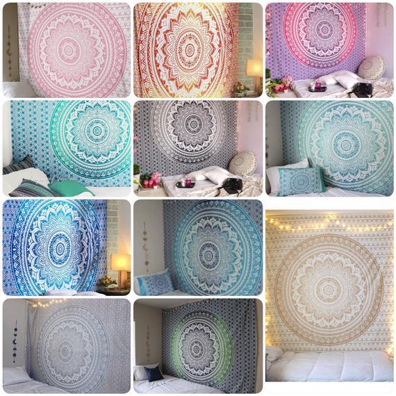 Ombre boho pared india colgante mandala tapiz, 100% algodón