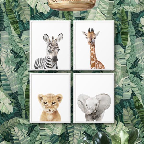 Safari nursery prints, baby animal print, set of 4 jungle