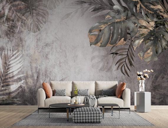 Textura dorada big leaves abstract luxury background