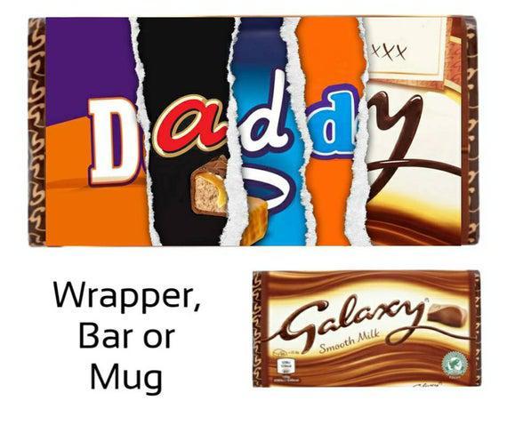 Papá barra de chocolate, envoltorio, taza,