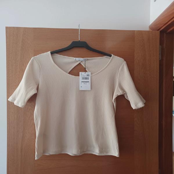 Camiseta manga corta color beige