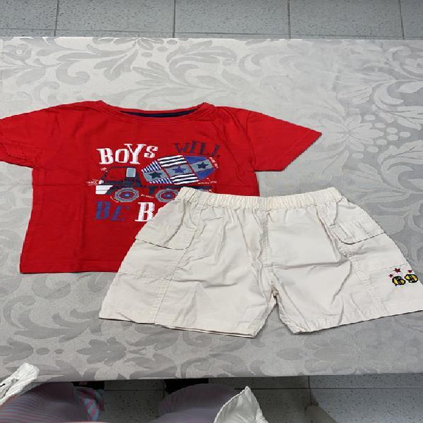 Conjunto camiseta y pantalón corto de niño de 2 años