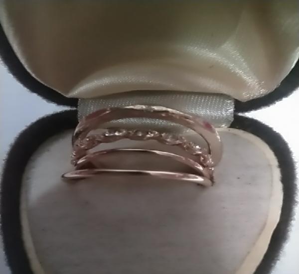 Cuatro anillos dorados set elegante medida 17