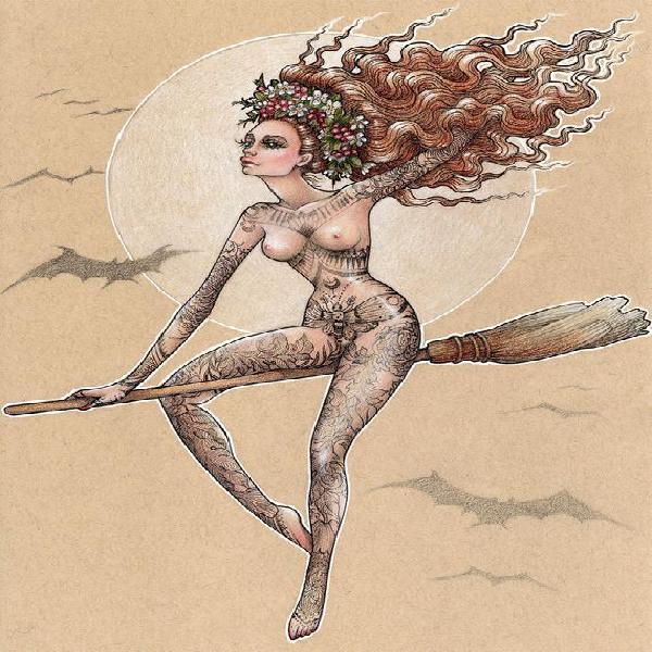 A4 giclee impresión de mi ilustración 'la bruja ii',