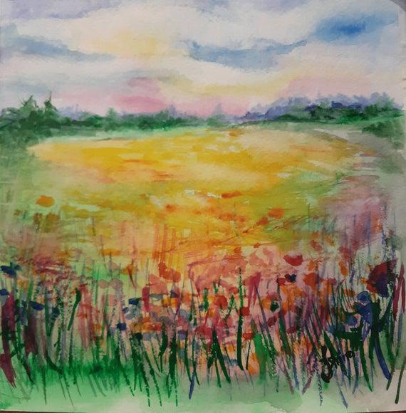 California golden poppies painting original watercolor