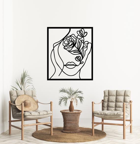 Metal abstract wall art, metal abstract art woman face wall