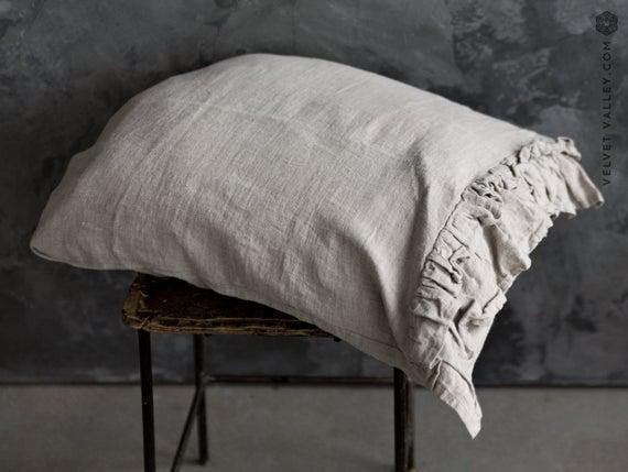 Natural unbleached almohada de lino sham con volantes