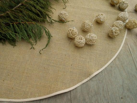 Navidad burlap árbol falda árbol de navidad rústico falda