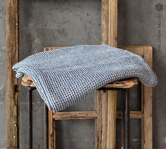 Toalla de lino blue melange. mano, toalla de cuerpo set.