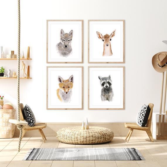 Woodland nursery decor, baby animal prints for nursery,