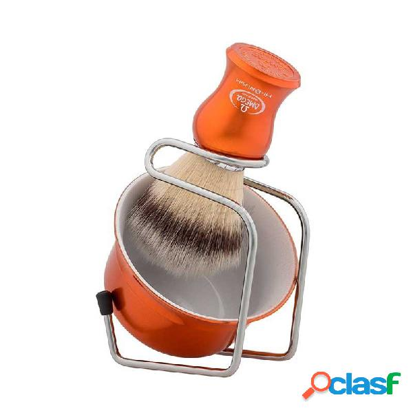 Set de afeitado de brocha sintética, soporte cromado y taza jabonera color naranja metálico de via barberia by omega