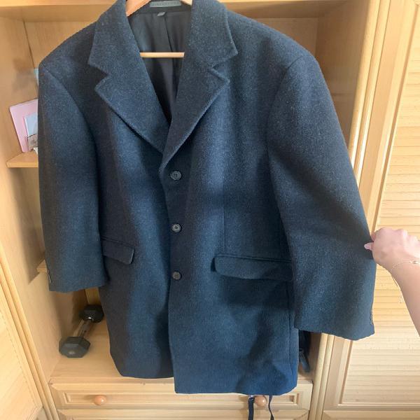 Abrigo lana, color negro, largo. zara