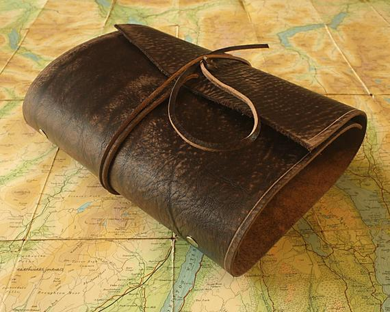 A5 afligido dark brown leather wrap ring binder, filofax