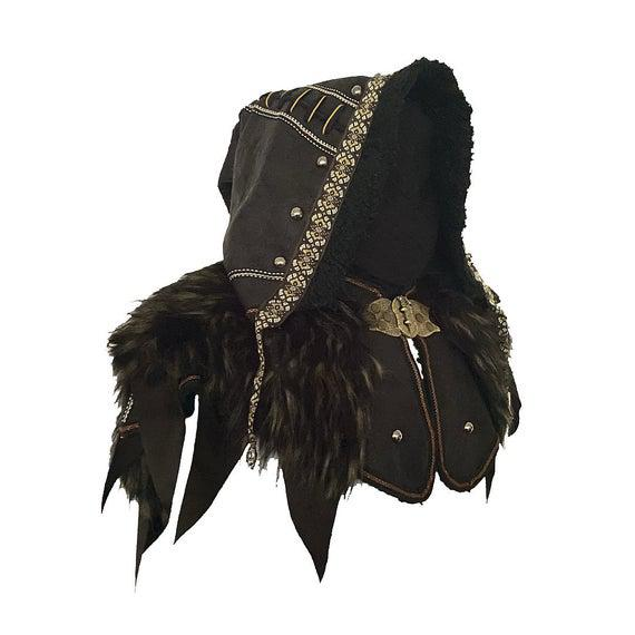 Larp capucha / capucha de cuero adornado / negro / cuero