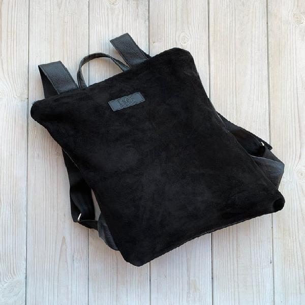 Mochila de cuero de ante negro, mochila convertible, mochila