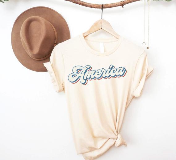 Retro america camisa, retro 4th de julio tee, usa camisa,