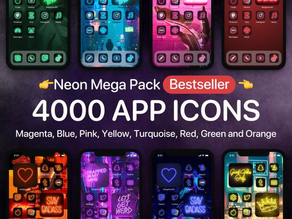Ios 14 neon mega pack with 4 000 app icons covers for iphone