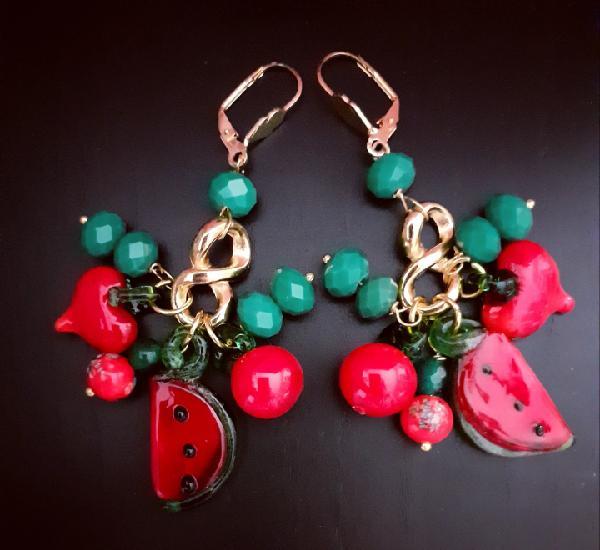 Pendientes con frutas de cristal de murano en rojo, sandia,