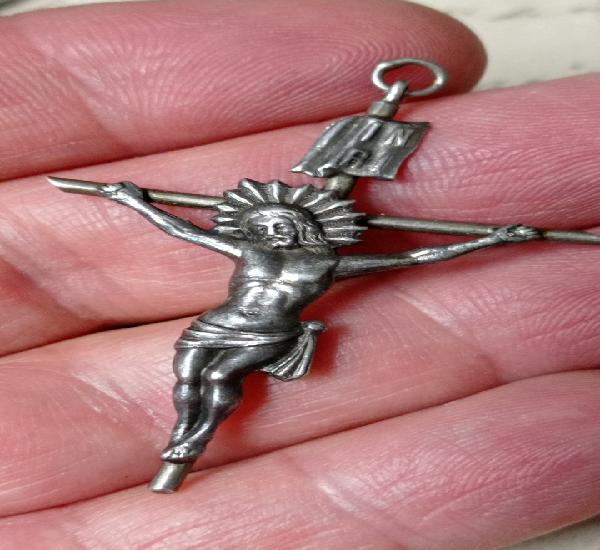 Colgante cruz de plata pp. siglo. buen tamaño