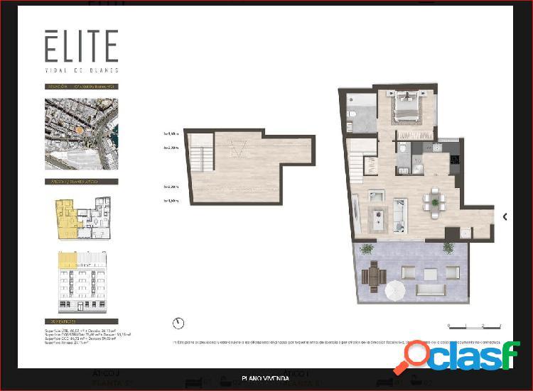 Planta ático 5ª tipo j.obra nueva 2 dormitorios dobles, 2 baños + terraza