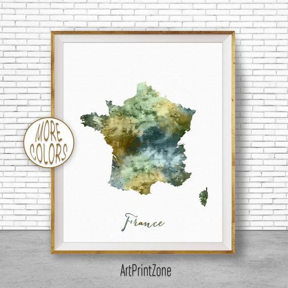 Francia mapa arte francia imprimir acuarela mapa mapa