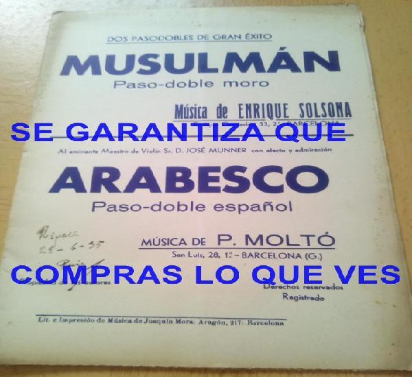 P moltó musulman arabesco pasodoble moro partitura antigua